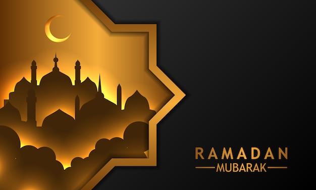 Schwarzer hintergrund mit goldener moschee ramadan des schattenbildes Premium Vektoren