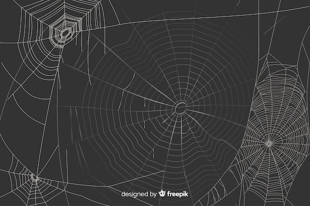 Schwarzer hintergrund mit realistischem weißem spinnennetz Kostenlosen Vektoren