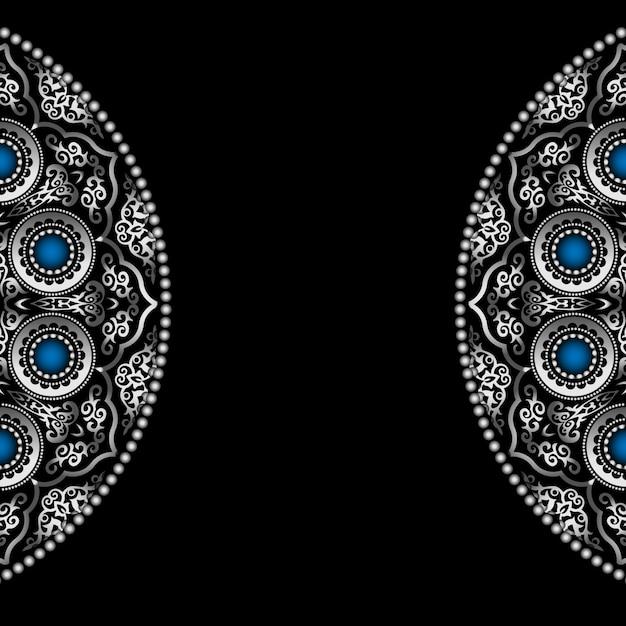 Schwarzer hintergrund mit silbernem rundem verzierungs-muster mit blauen edelsteinen Premium Vektoren