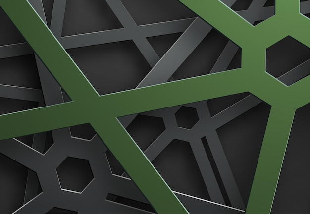 Schwarzer hintergrund von verwickelten linien in einem netz mit einem grünen sechseck auf den schnittpunkten. Premium Vektoren