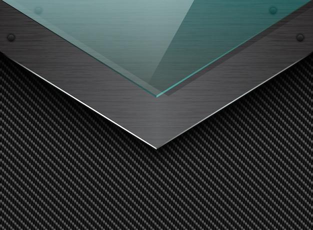Schwarzer kohlenstofffaserhintergrund mit ecke gebürsteter metallplatte und grünem transparentem glas. industrieller eleganter pfeil Premium Vektoren