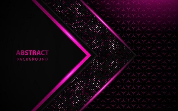 Schwarzer luxushintergrund mit rosa funkelt dekoration Premium Vektoren