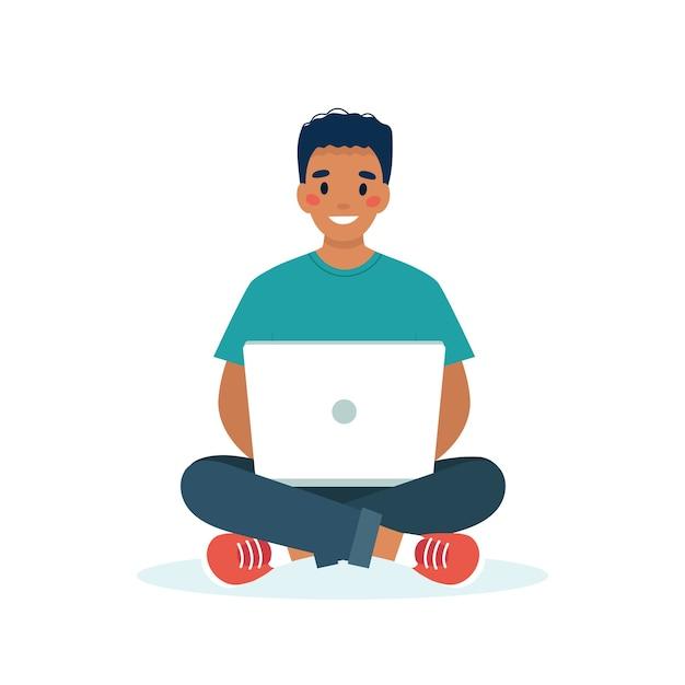 Schwarzer mann mit einem laptop, der arbeits-, studenten- oder fernarbeitskonzept arbeitet Premium Vektoren