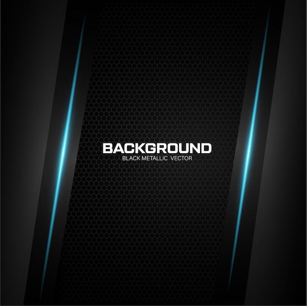 Schwarzer metallischer hintergrund mit blauem glänzendem Premium Vektoren