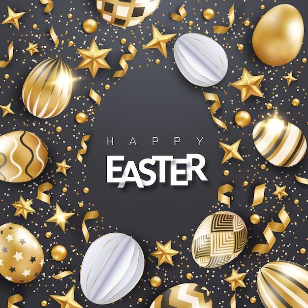 Schwarzer osterhintergrund mit realistisch verzierten goldenen eiern, bändern, sternen, konfetti und text. eierrahmenform. Premium Vektoren