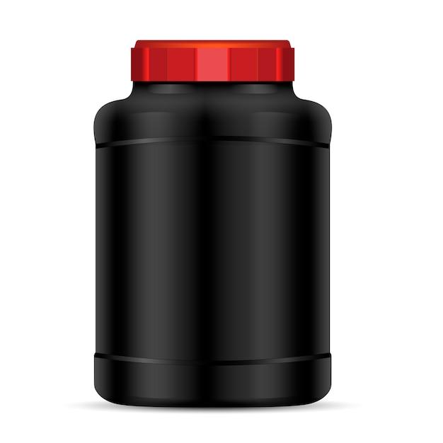 Schwarzer proteinpulverbehälter mit rotem deckel Premium Vektoren