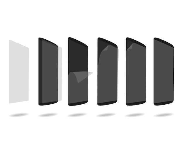 Schwarzer schutzfilm der intelligenten telefone auf schirm stellte verschiedene winkel ein Premium Vektoren