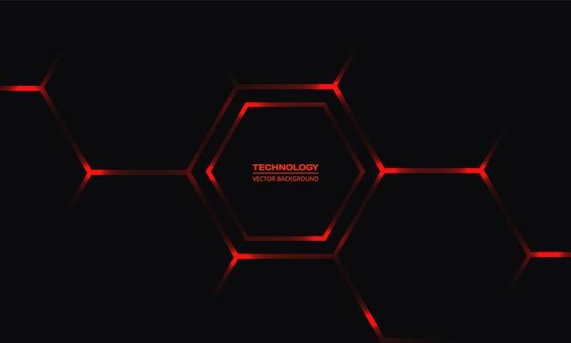 Schwarzer sechseckiger technologiehintergrund mit roten hellen energieblitzen Premium Vektoren