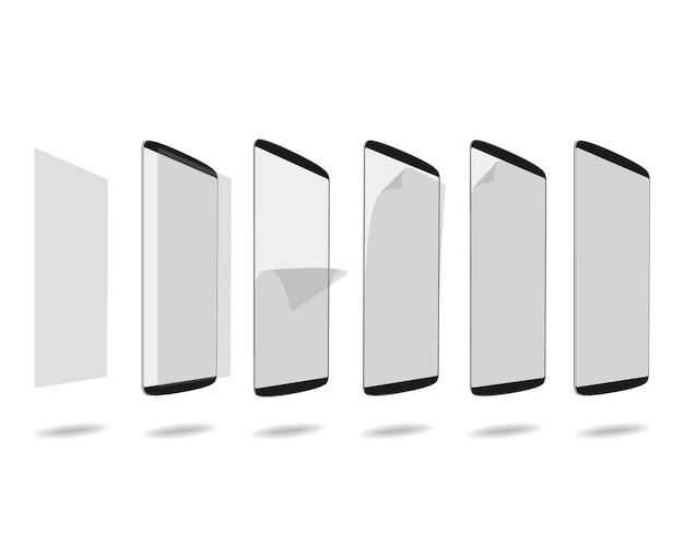 Schwarzer smartphone-bildschirm mit schutzglas stellte verschiedene schritte ein Premium Vektoren