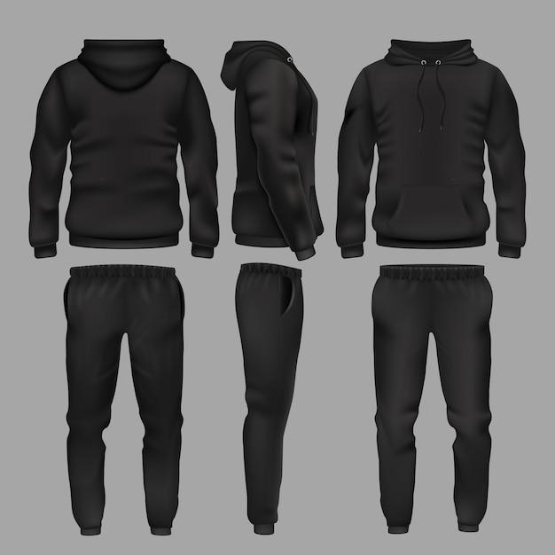 Schwarzer sportswear hoodie und hose. sportbekleidung mit hoodie, herrenmodehose und jogginghose Premium Vektoren