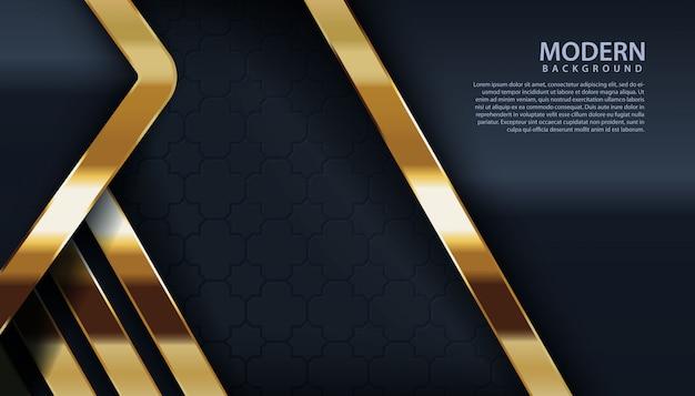 Schwarzer strukturierter hintergrund mit goldener linie effekt Premium Vektoren