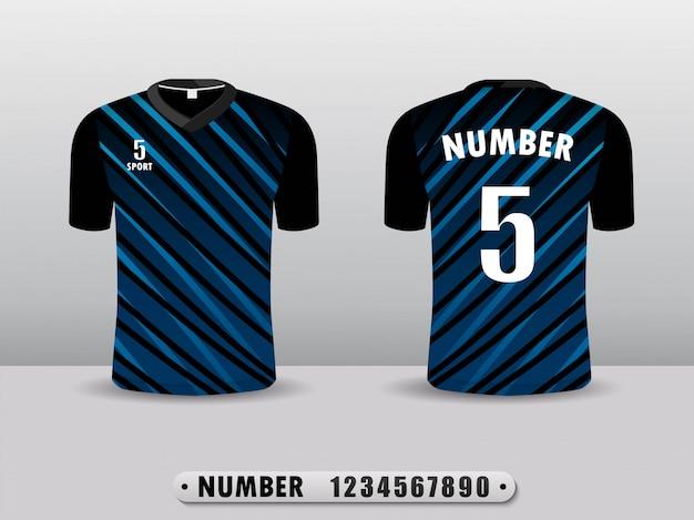 Schwarzer und blauer fußballverein t-shirt sportentwurf. Premium Vektoren