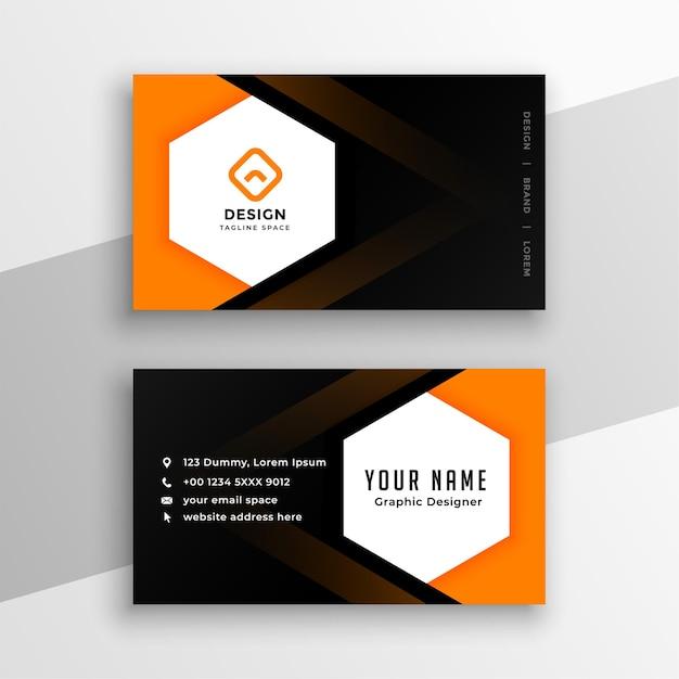 Schwarzer und orangegelber visitenkartenentwurf der sechseckigen form Kostenlosen Vektoren