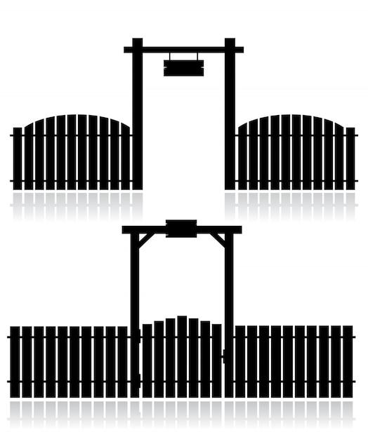 Schwarzer zaun mit dem gatter getrennt auf weiß Premium Vektoren