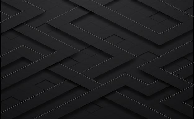 Schwarzes 3d und linie quadratischer hintergrund Premium Vektoren