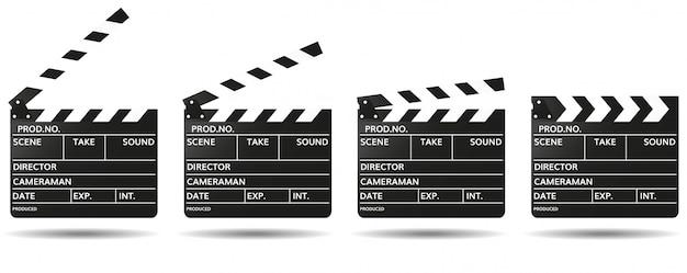 Schwarzes clapperboard mit leeren feldern für filmnamen geöffnet und geschlossen. filme aufnehmen Premium Vektoren