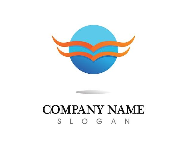 Schwarzes flügellogosymbol für einen berufsdesigner Premium Vektoren