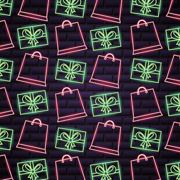 Schwarzes freitag-einkaufsverkaufsmuster in den neonlichtern Kostenlosen Vektoren