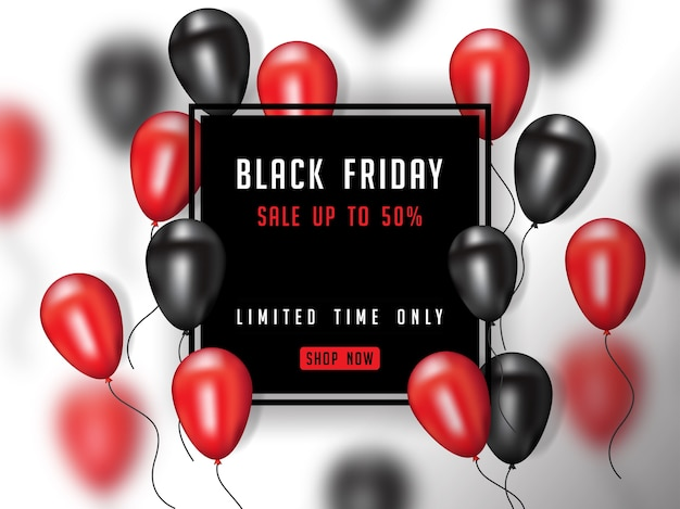 Schwarzes freitag-plakat mit realistischem ballon 3d Premium Vektoren