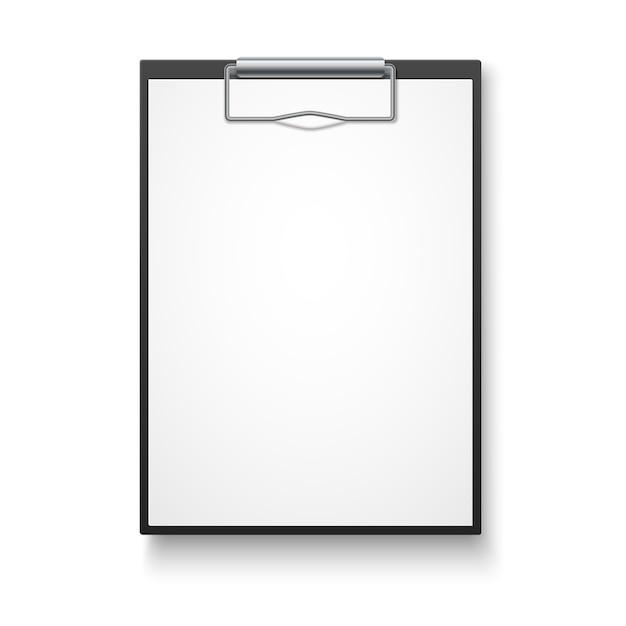 Schwarzes klemmbrett mit leerem weißem blatt. Premium Vektoren