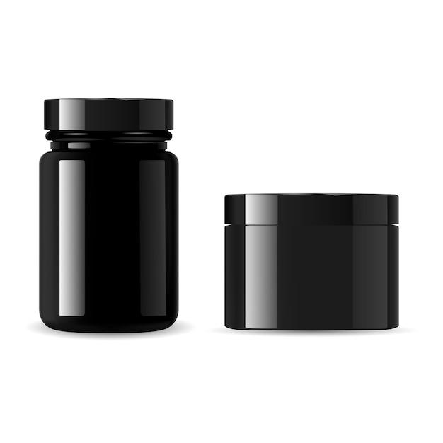 Schwarzes kosmetikflaschenset. sahneglas. glänzender glasbehälter für pulver oder wachs. verpackungsrohling für sportergänzungsmittel für molkenproteinpulver. plastikdose, isoliert Premium Vektoren