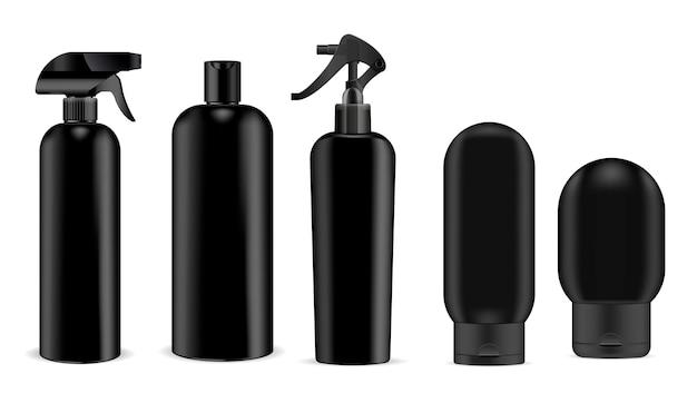 Schwarzes kosmetiksprühgerät und shampoo, gelflasche Premium Vektoren