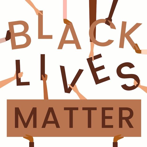 Schwarzes leben materie schriftzug konzept Kostenlosen Vektoren