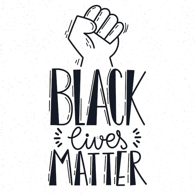Schwarzes leben materie schriftzug mit der faust Premium Vektoren