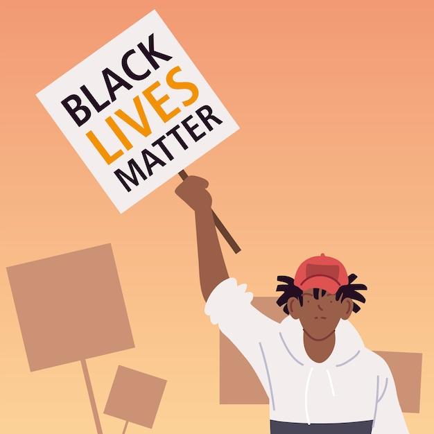 Schwarzes lebensmaterie-banner mit mannkarikatur der protestgerechtigkeit und der rassismus-themenillustration Premium Vektoren