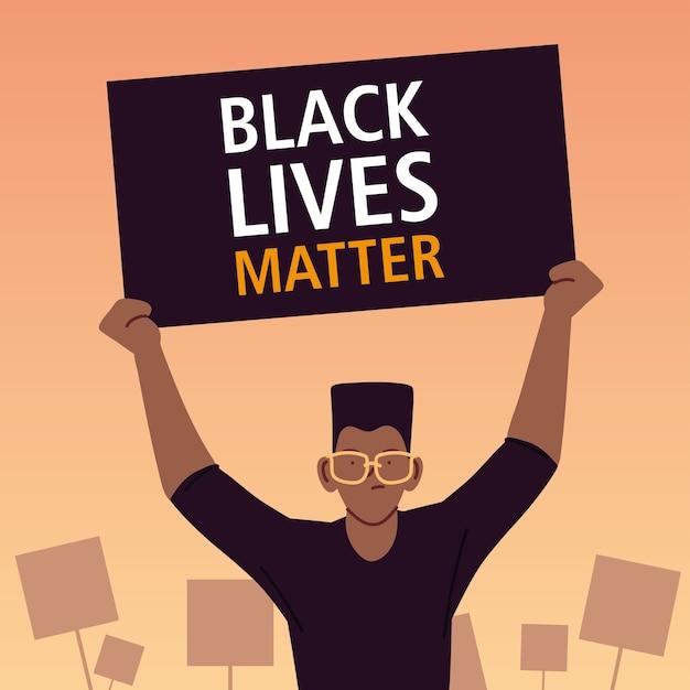 Schwarzes lebensmaterie-banner mit mannkarikaturentwurf der protestgerechtigkeit und rassismusthemaillustration Premium Vektoren