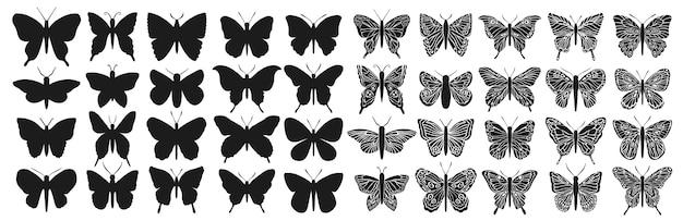 Schwarzes lokalisierter schmetterlingsschattenbildsatz. grafisches insektenschneiden. Premium Vektoren