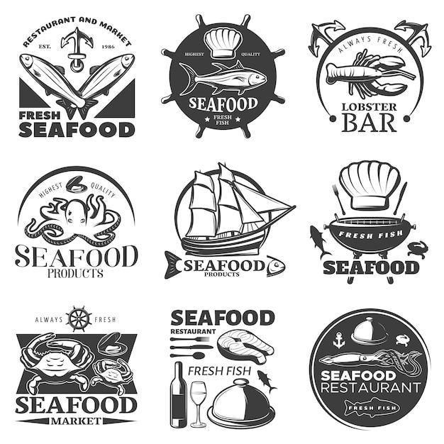 Schwarzes meeresfrüchte-emblem mit restaurant und markt frische meeresfrüchte höchster qualität meeresfrüchte frischen fisch beschreibungen Kostenlosen Vektoren