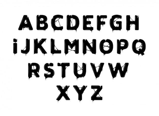 Schwarzes öl alphabet Premium Vektoren