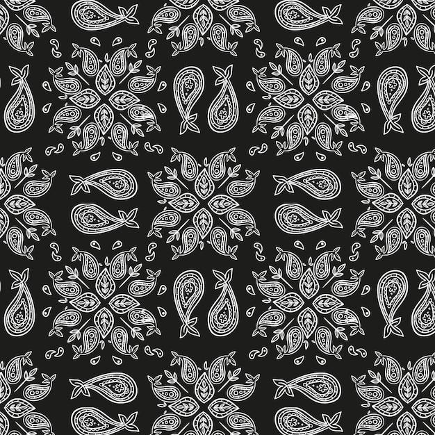 Schwarzes paisley-bandana-muster Kostenlosen Vektoren