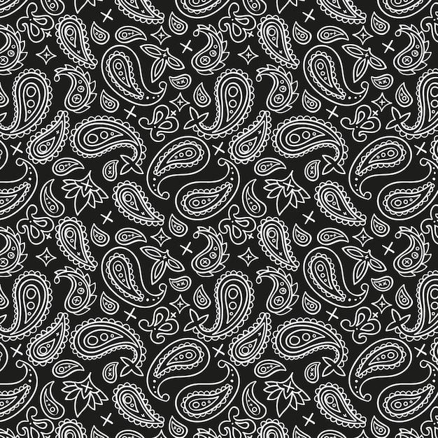 Schwarzes paisley-bandana-muster Premium Vektoren