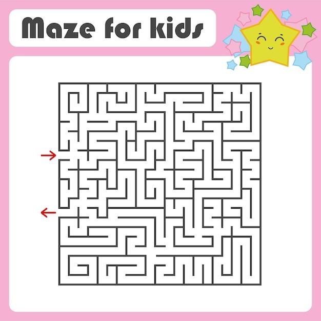 Schwarzes quadrat labyrinth Premium Vektoren