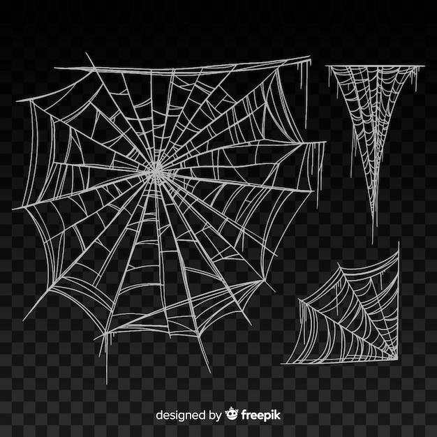 Schwarzes realistisches spinnennetz mit steigung Kostenlosen Vektoren