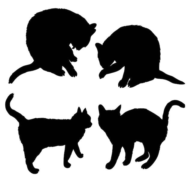 Schwarzes schattenbild der katze seitlich sitzend lokalisiert auf weiß Premium Vektoren