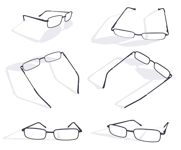 Schwarzes schattenbild des brillenrahmensatzes Premium Vektoren