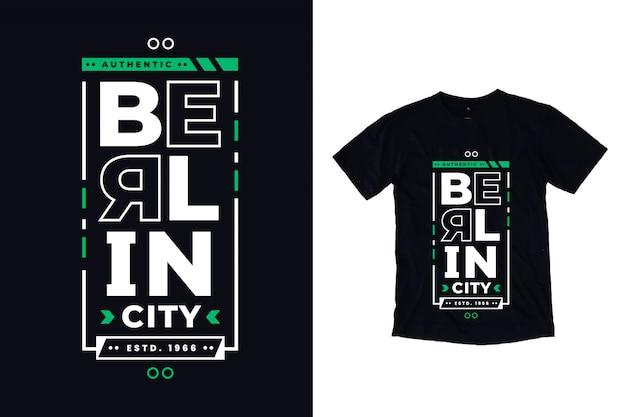 Schwarzes t-shirt der modernen typografie der berliner stadt Premium Vektoren