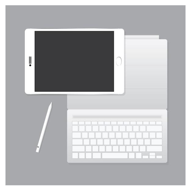 Schwarzes tablet pro mit tastaturkoffer Premium Vektoren