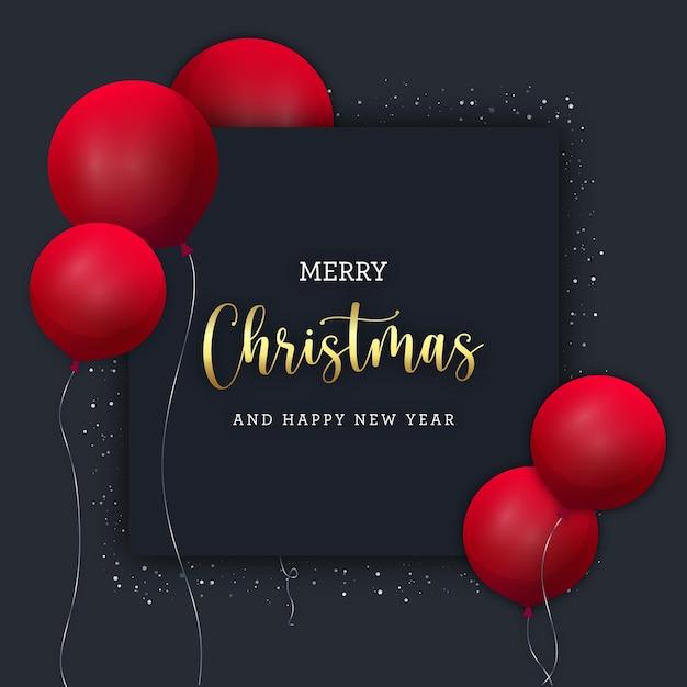Schwarzes weihnachtsbanner mit roten ballons Premium Vektoren