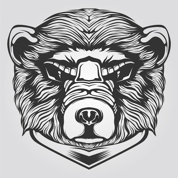 Schwarzweiss-bärnlinie kunst für tatto oder malbuch Premium Vektoren