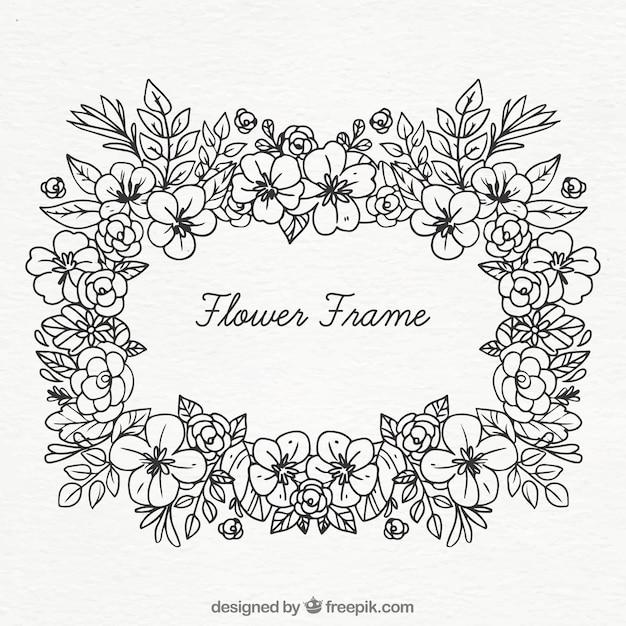 Schwarzweiss-Blumenrahmen | Download der kostenlosen Vektor