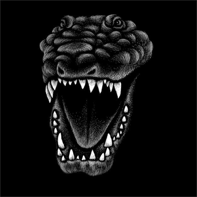 Schwarzweiss-dinosaurierillustration Premium Vektoren