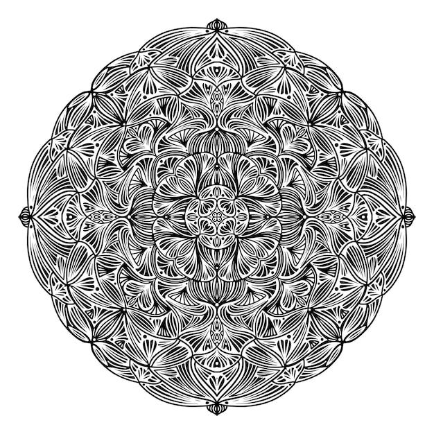 Schwarzweiss-ethnische mit blumenmandala, auf weißem hintergrund Premium Vektoren