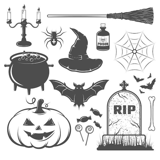Schwarzweiss-halloween-elementeset Kostenlosen Vektoren