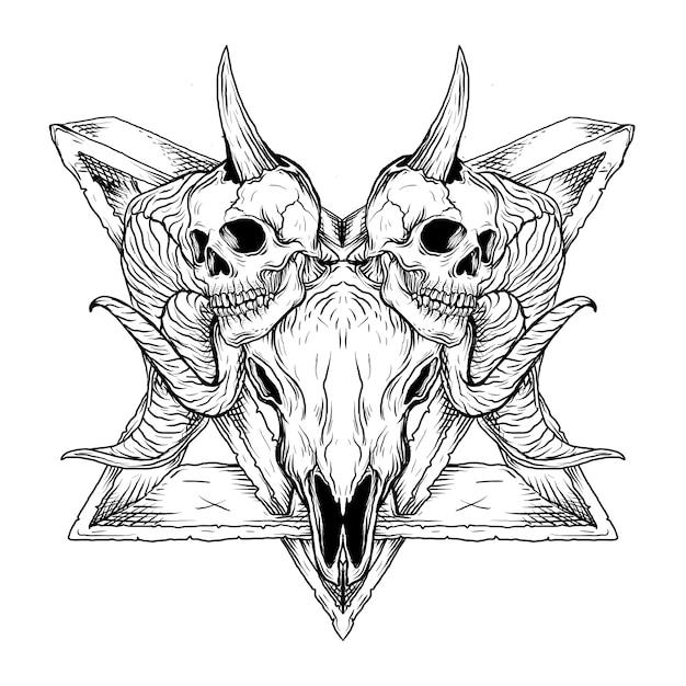 Schwarzweiss hand gezeichnete illustration schädel baphomet satanismus Premium Vektoren