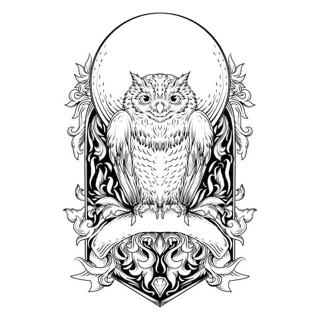 Schwarzweiss-hand gezeichnete illustrations-eulengravurverzierung Premium Vektoren