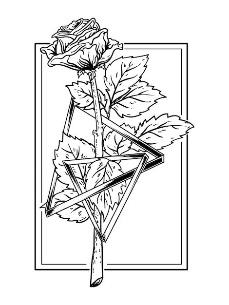 Schwarzweiss-hand gezeichnete illustrationsrose mit dreiecksprämie Premium Vektoren